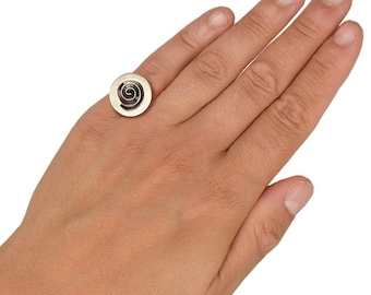 Silver or gold greek spiral ring,  20 mm circle of life pinky ring, little finger disc adjustable ring