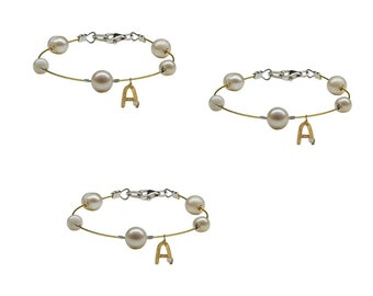 Bridesmaids personalized pearl bracelet set, initial letter custom bracelet , gold or silver dainty made of honor gift