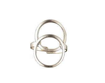 Sterling silver long finger ring, geometric large ring on sale , open circle index finger ring