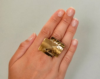 Gold large square  ring, brass hammered middle finger ring, geometric tribal fashion ring