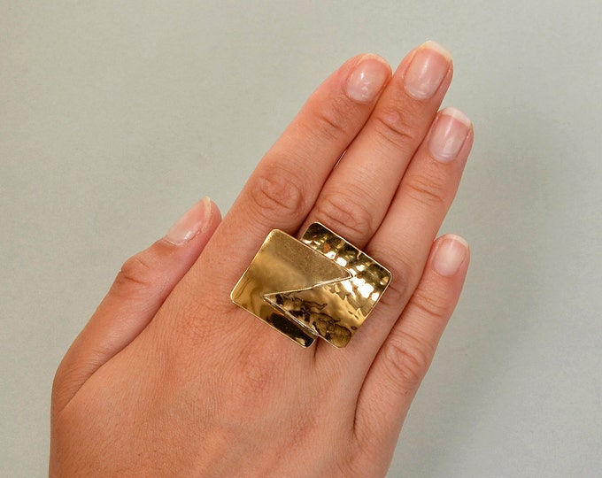 Featured listing image: Brutalist gold ring, square large ring, chunky ring, middle finger ring, brass jewelry, hammered jewelry, adjustable ring, statement ring