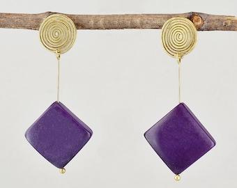 Purple bead boho stud earrings, handmade square long studs, geometric tagua nut women jewelry