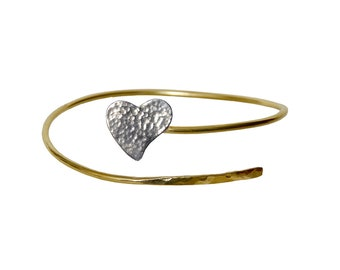 Heart bracelet,  gold cuff bracelet, sterling silver heart,  friendship bracelet, love bracelet, wish bracelet, wedding jewellery