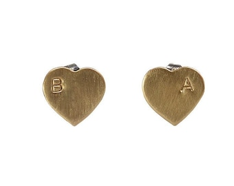 Small gold personalized heart stud earrings, hand stamped heart valentines jewelry, custom initial letter stud earrings