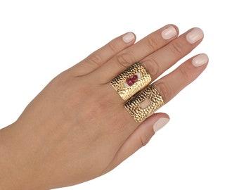 Gold rectangular large ring, Hammered full finger ring, handmade adjustable index ring