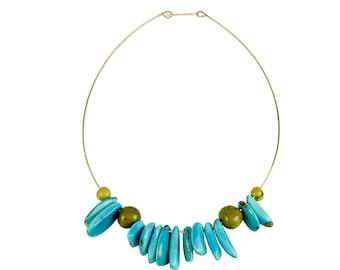 Turquoise tagua necklace, bib necklace, chunky beads jewelry, boho jewelry, green blue pendant, Tribal necklace, brass jewel, organic jewel