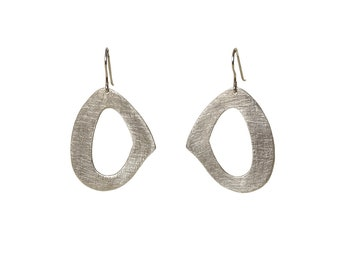 Sterling silver dangle oval  contemporary hoops