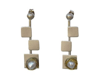 Sterling silver square stud earrings, minimalist simple long earrings, red coral or pearl jewelry