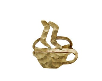 Gold coffee hammered ring, coffee or tea lover gift, kawaii  pinky or middle finger ring