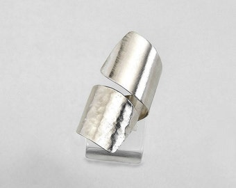 Sterling silver tube open ring, wrap around chunky index ring, cross over large cuff ring