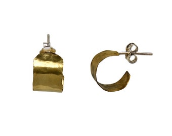Gold tiny wide hoop earrings, thick small brass hoops, hammered creole little stud hoop earrings