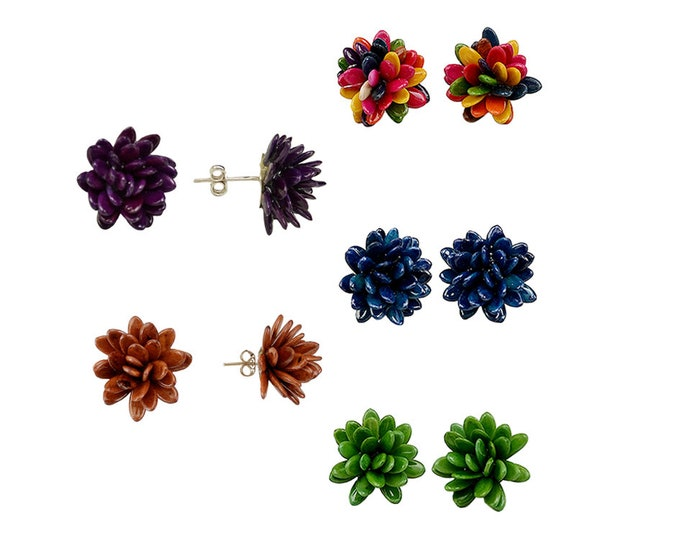 Featured listing image: Bridesmaid flower studs, bridesmaid proposal, set of 5 , set of 6, set of 7, flower girl gift, colorful stud earrings, flower earrrings