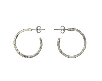 Sterling silver thin small hoop earrings, dainty hammered or shiny stud hoops, delicate 20 mm silver  hoop earrings