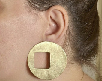 Large gold disc earrings, African brass hoop earrings, extra large circle statement earrings