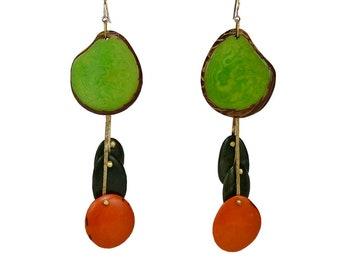 Green orange extra large chandelier tagua earrings, gold or silver custom statement jewelry , tribal brutalist bohemian earrings