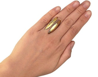 Open front gold long ring, tall full finger ring , bohemian brass index or middle finger ring