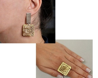 Tribal gold earrings and ring set, Greek spiral square earrings and ring, statement jewelry set