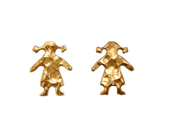 Two girls gold stud earrings , small dall cute 15 mm post earrings, mother gift idea under 20
