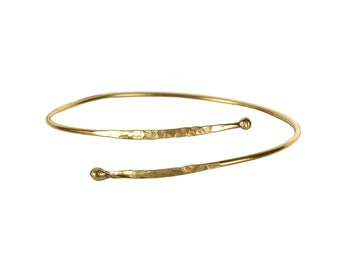 Gold wrap dainty bracelet, delicate metallic cuff bracelet, thin simple stacking bracelet, bridesmaid gift under 20