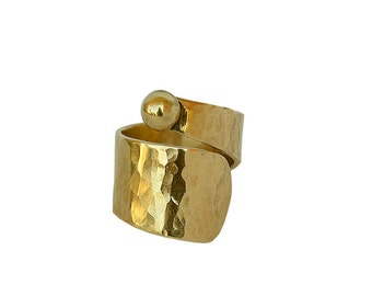 Wide gold or silver pinky ring, men or women little finger ring, wrapped around cuff band
