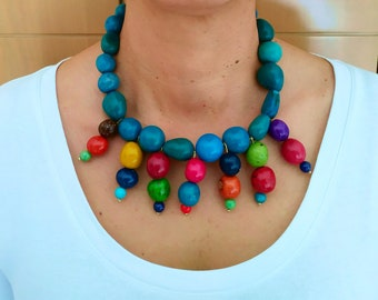 Statement  turquoise  beaded necklace jewelry, rainbow  tagua nut tribal  necklace, large beads chunky boho necklace