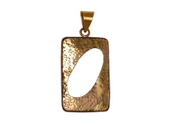 Gold large rectangle pendant, men women long 2 inch pendant, square hammered necklace pendant