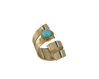 Turquoise silver ring, long band, wrapped around ring, lapis lazuli ring, mixed metals jewelry, ring finger ring, handmade jewel, cuff band