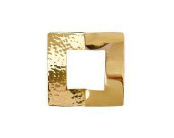 Gold large square pendant, wide big hammered necklace pendant, boho tribal jewelry,