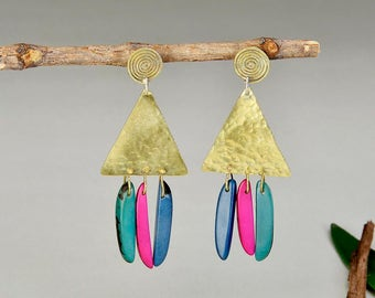 Gold triangle boho large earrings, colorful tagua nut ethnic long studs, brass tribal geometric statement earrings