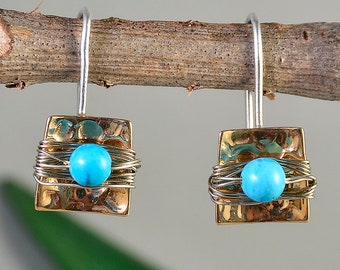 Gold turquoise drop earrings, square hammered earrings, December Birthstone jewelry