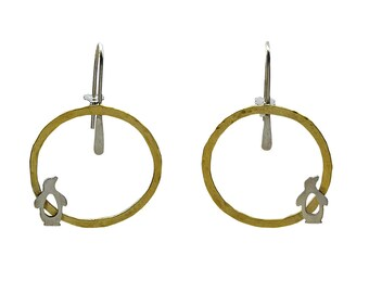 Sterling silver and brass penguin hoop earrings, circle drop large tribal earrings, boho animal jewelry