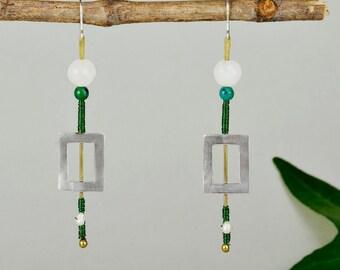 Sterling silver rectangle drop earrings, long square minimalist earrings,  green bead geometric jewelry