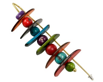 Extra large tagua nut brooch,  chunky colorful  pin brooch, extra long beaded multicolor brooch