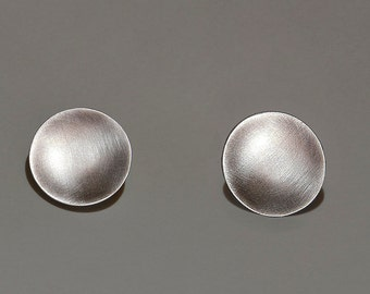 Sterling silver circle earrings, full circle studs, disc modern earrings