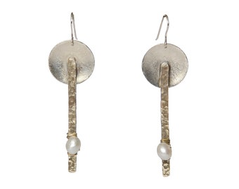 Sterling silver dangle pearl earrings, circle long drop earrings, geometric mixed metals bar jewelry