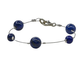 Lapis lazuli handmade bracelet, navy blue beaded bracelet, December birthstone jewelry