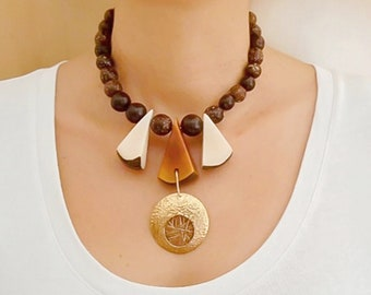 Statement  gold brown tagua necklace, large earth colors beaded necklace, triangle boho chunky custom necklace