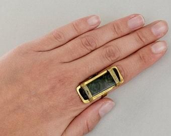 Gold large rectangle tagua ring, green flower full finger ring, geometric bar jewelry