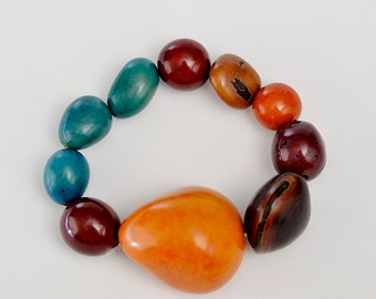 Tribal orange turquoise big stretch bracelet, chunky  tagua nuts bracelet  jewelry, boho large women  bangle