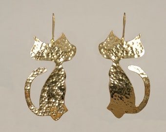 Gold large cat drop earrings,  animal  2 inches dangle earrings, cat lover gift under 25