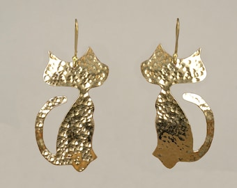 Gold large cat drop earrings,  animal  2 inches dangle earrings, cat lover gift under 35