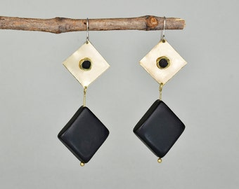 Black gold dangle earrings , geometric long brass drop earrings , onyx women diamond shape earrings