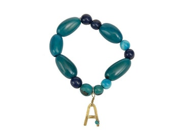 Initial A turquoise beaded bracelet, personalized  alphabet letter jewelry , custom name tagua nut  bangle bracelet