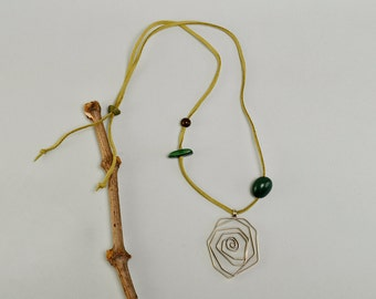 Large spiral pendant, olive green cord necklace, big twisted jewelry, tagua nut jewel, organic seed choker, Silver tone big pendant necklace
