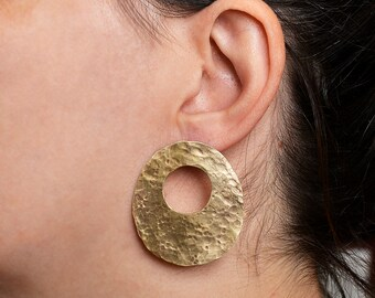 Large open oval stud earrings, gold statement circle earrings, tribal stud hoop earrings