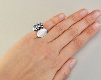 Sterling silver oval pinky ring, little finger sisters ring, geometric designer jewelry