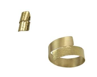 Gold or silver bracelet ring set, chunky tribal jewelry set, wrap ring bracelet