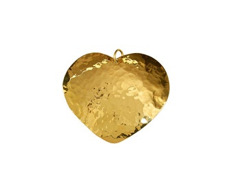 Gold large heart pendant , hammered chunky love pendant , handmade big heart charm for jewelry making