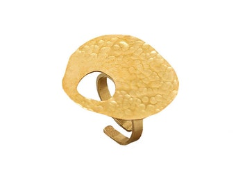 Gold circle ring, chunky brass ring, asymmetrical gold ring, hammered big ring, plain bulky band, artisan big ring, ring under 25.