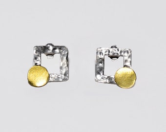 Sterling silver gold square stud earrings, mixed metals geometric earrings, minimalist rectangle brass circle earrings